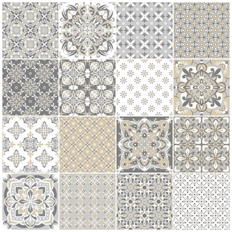 Traditional ornate portuguese tiles azulejos. vintage pattern for textile design. geometric mosaic, majolica. seamless geometric pattern. decorative background.