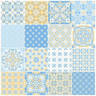 Traditional ornate portuguese tiles azulejos. vintage pattern for textile design. geometric mosaic, majolica. seamless geometric pattern. vector decorative background. vintage floral pattern.