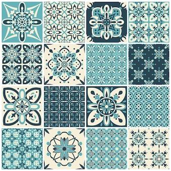 伝統的な華やかなポルトガルのタイル。テキスタイルデザインのパターン。幾何学的なモザイク、マジョリカ。
