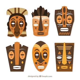 Traditional pack of wooden tribal masks