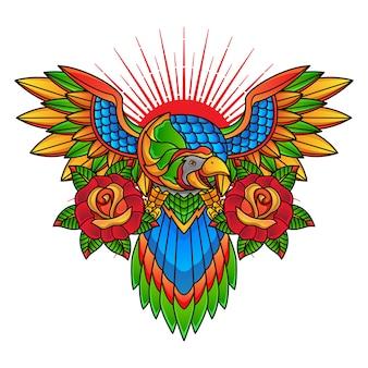 Традиционный дизайн татуировки попугай