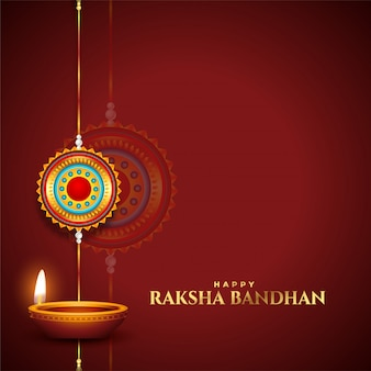 Traditional raksha bandhan wishes card with diya and rakhi