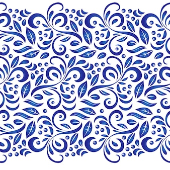 Traditional russian vector seamless pattern in gzhel style.