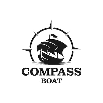 Traditional sailing yacht, boat, ship and compass silhouette logo design vector