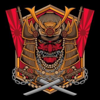 伝統的な侍マスクのロゴ