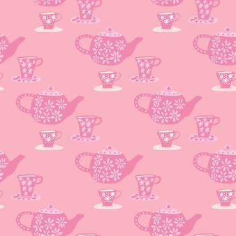 Traditional seamless pattern with doodle tea ceremony elements. pink palette cafe print.