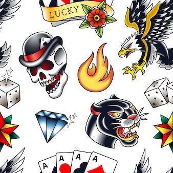 인기있는 구식 요소 팬더, 두개골, 다이아몬드, 불, 주사위, 스타, 포커 카드 및 독수리와 함께 전통적인 완벽 한 패턴입니다.