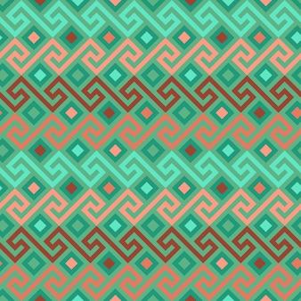 伝統的なシームレスなヴィンテージベージュと緑の正方形のギリシャの装飾品の曲がりくねった