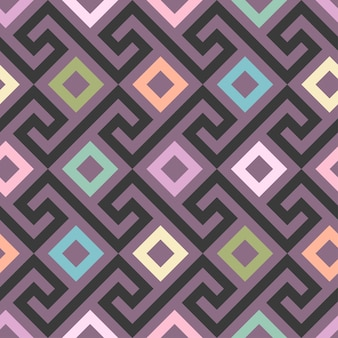 Traditional seamless vintage pink square greek ornament meander