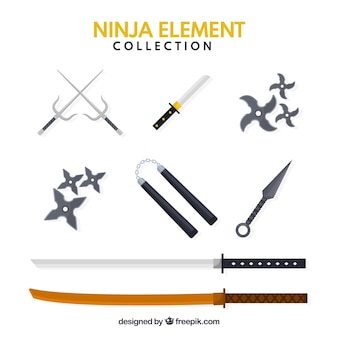 Traditional set of ninja elements with flat design