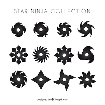 Traditional set of ninja stars with flat design