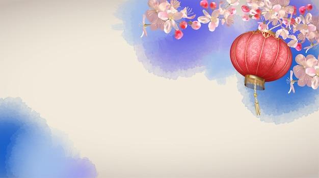 開花梅の枝と絹のランタンと伝統的な春祭りの背景。中国の旧正月の背景