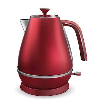 Traditional stainless steel stovetop kettle isolated on white background. vector illustration