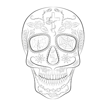 Traditional sugar skull element of design for the day of the dead