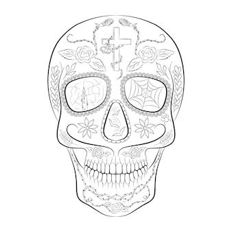 죽은 자의 날을 위한 디자인의 전통적인 설탕 해골 요소