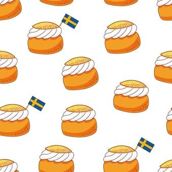 伝統的なスウェーデンのデザートセムラシームレスパターン。