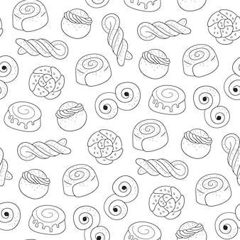 伝統的なスウェーデンのお菓子のシームレスなパターン。
