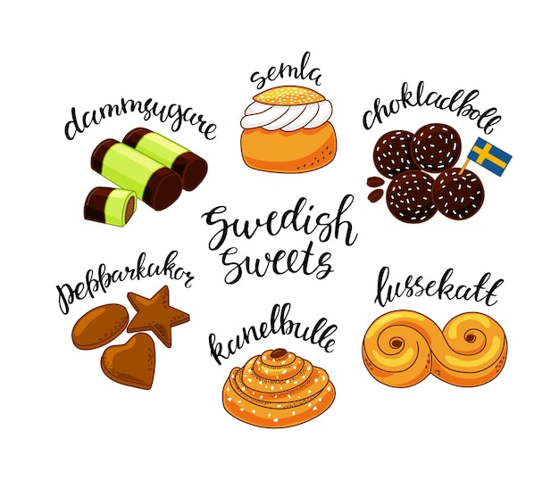 Traditional swedish sweets set illustration in the cartoon style