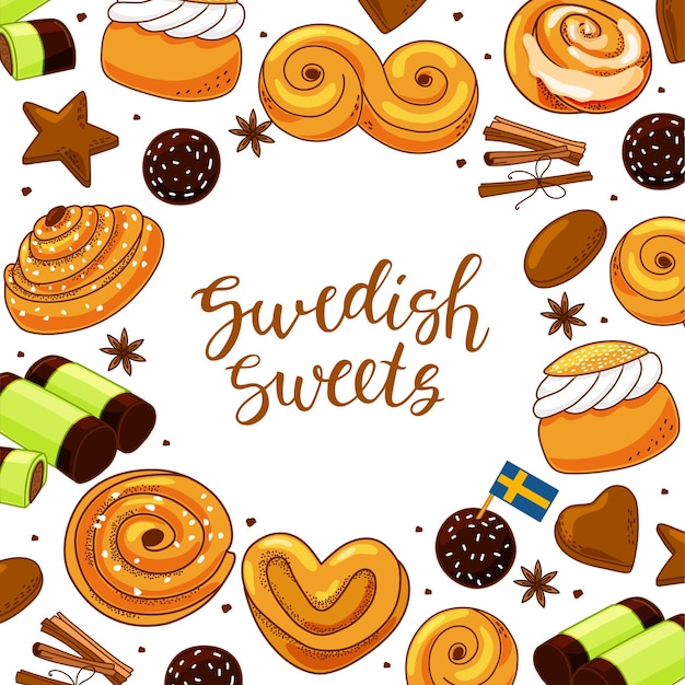 Traditional swedish sweets set. illustration in the cartoon style.