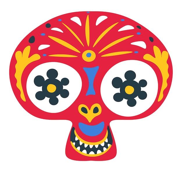 メキシコのハロウィーンの伝統的なシンボル、装飾品や装飾的な要素を持つ頭蓋骨。カーニバルまたは死者の日のサイン。絵画のヒスパニックモチーフ、お祝いのカラベラ、フラットスタイルのベクトル