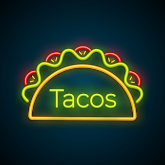 Traditional tacos meal neon light taco truck sign