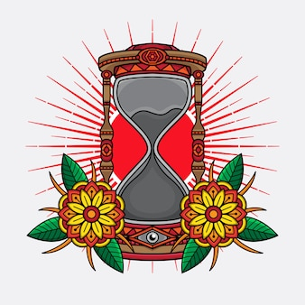 Traditional tattoo hourglass design