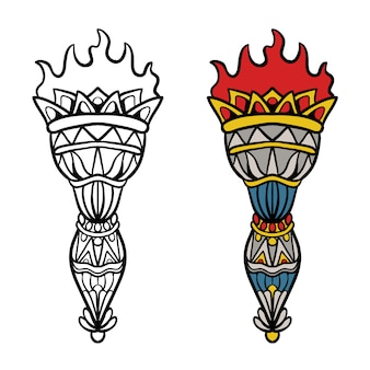 Traditional tattoo of torch in color and black and white