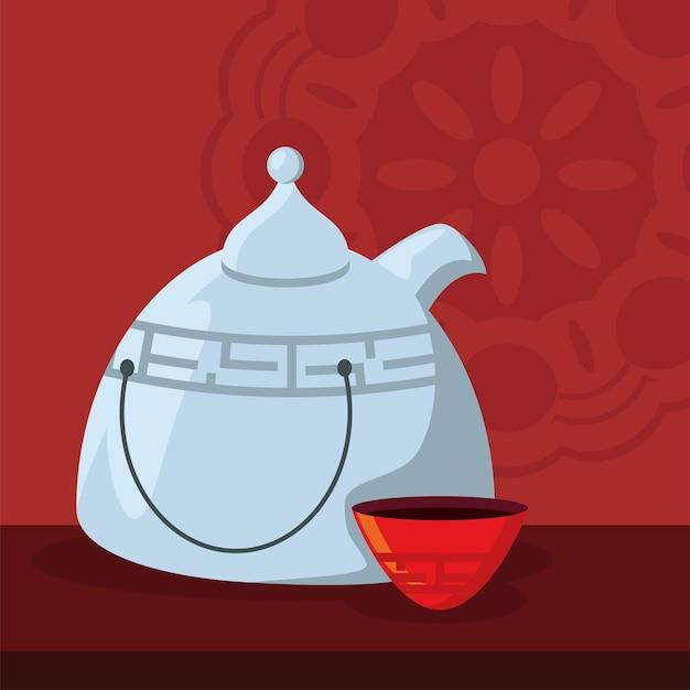 Традиционный чайник с чашкой