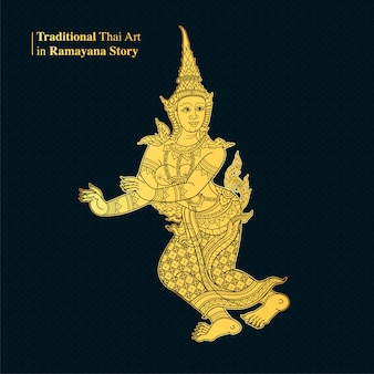 Traditional thai art in ramayana story, style vector