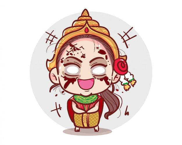Призрак традиционного тайского платья смеется вслух или смеется на белом фоне со страшной концепцией хэллоуина.