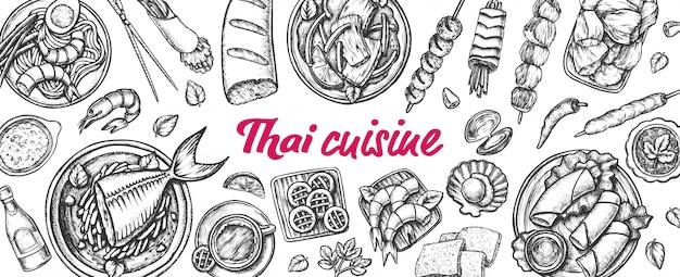 Traditional thailand cuisine monochrome