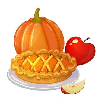 伝統的な感謝祭の食べ物、漫画のイラスト。