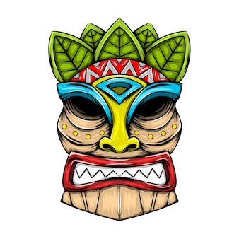 Traditional tiki island mask made from the wood with the leaves accent
