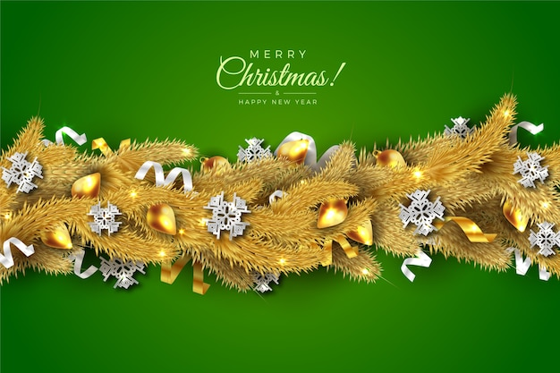 Traditional tinsel for christmas tree background