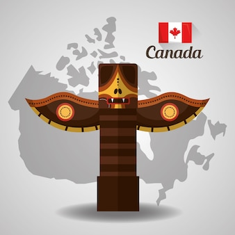 Traditional totem canadian on map