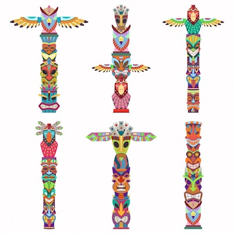 Traditional totem pole with tiki mask and eagle. cartoon flat icons set isolated on white background.