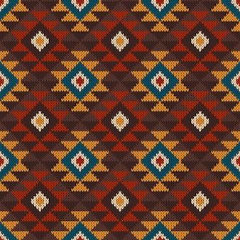 伝統的な部族のアステカのシームレスなパターン。ニットセーターのデザイン。ウールニットテクスチャ