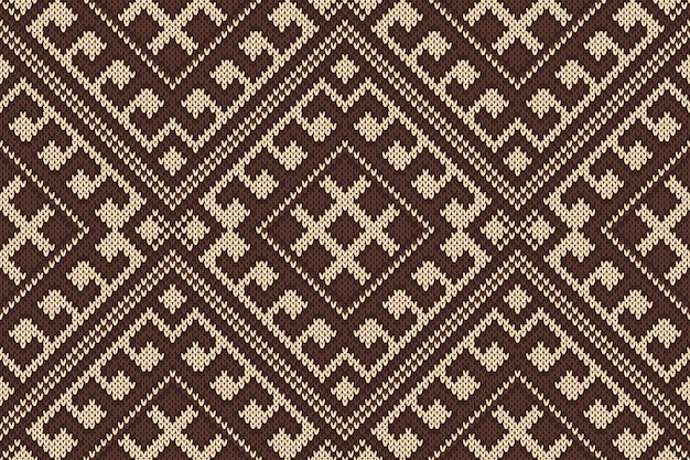 ウールニットテクスチャ上の伝統的な部族アステカシームレスパターン