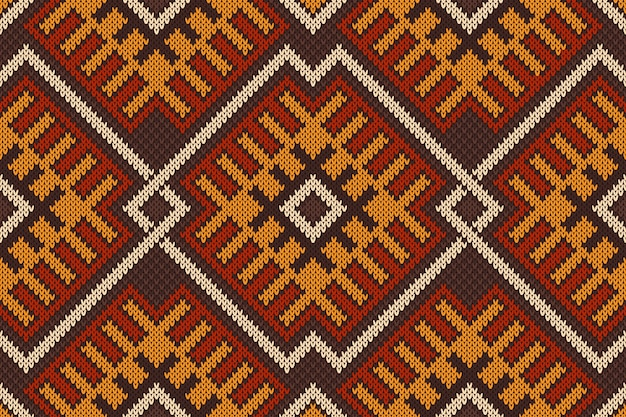 Traditional tribal aztec seamless pattern on the wool knitted texture