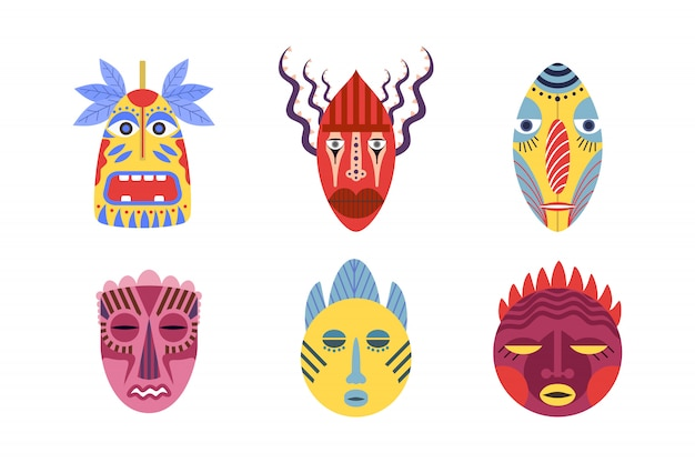 Traditional tribal masks set