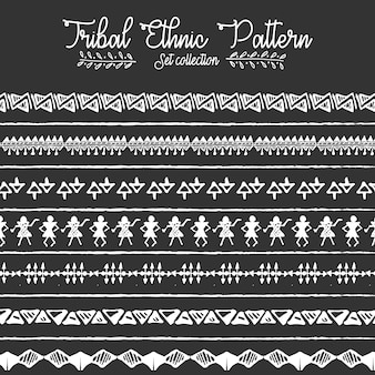 Traditional tribal mud cloth ethnic pattern set collection with geometric elements