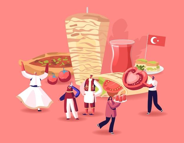 伝統的なトルコ料理のコンセプト。漫画フラットイラスト