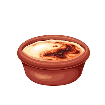 Traditional turkish dessert syutlach, milk rice pudding baked in the oven vector illustration.