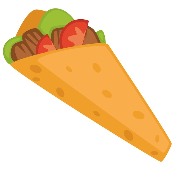 伝統的なトルコ料理またはメキシコ料理、ケバブまたはシャワルマの孤立したアイコン。肉とトマトのスライス、サラダの葉とブリトー。野菜と焼きフィレをパンで包みます。フラットスタイルのベクトル