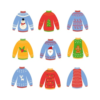 Traditional ugly christmas sweater set