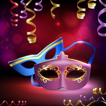 Traditional venetian carnival mardi gras realistic 3d masks