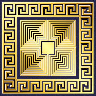 伝統的なヴィンテージゴールドギリシャ飾り、蛇行