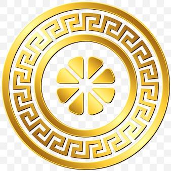 Traditional vintage golden round greek ornament