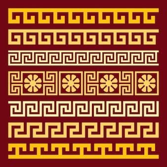 Traditional vintage golden square greek ornament meander on a red abackground