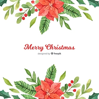 Traditional watercolor christmas background